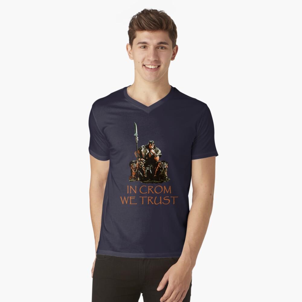 In Crom We Trust Mens V-Neck T-Shirt Front