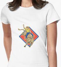 Rodeo Cowboy Bull Riding Cartoon  T-Shirt