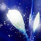 Digital Art Sparkling Flowers - Blue by Natalie Kinnear