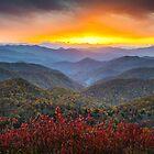 Blue Ridge Parkway Autumn Sunset NC - Rapture by Dave Allen