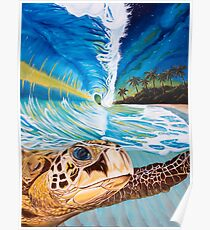 Sea Turtle Crashing Wave Hawaiian Sunset Painting - With the Stars on Her Back Poster