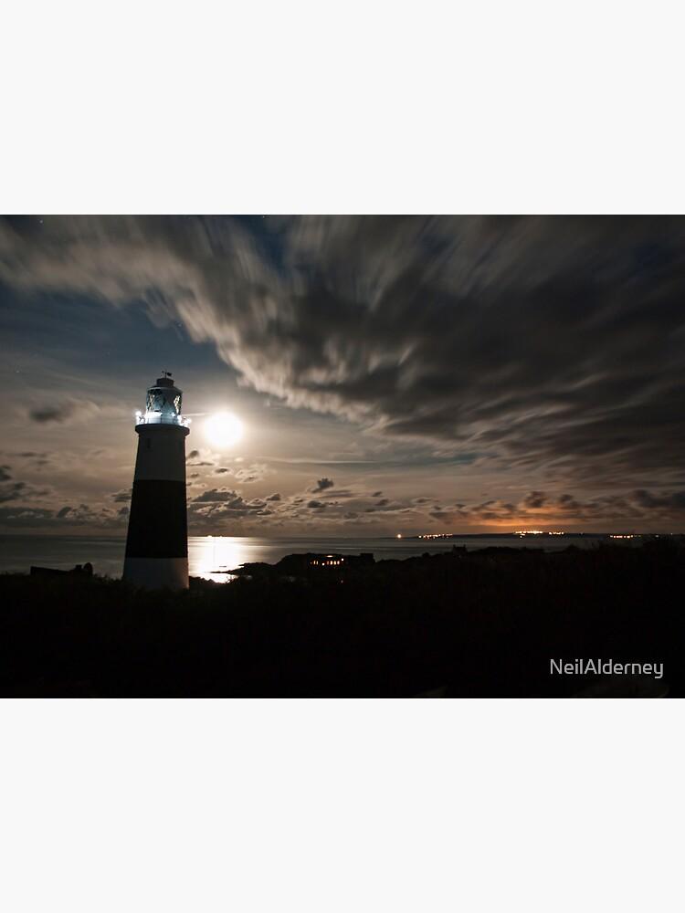 Alderney's Lighthouse Under A full Moon by NeilAlderney