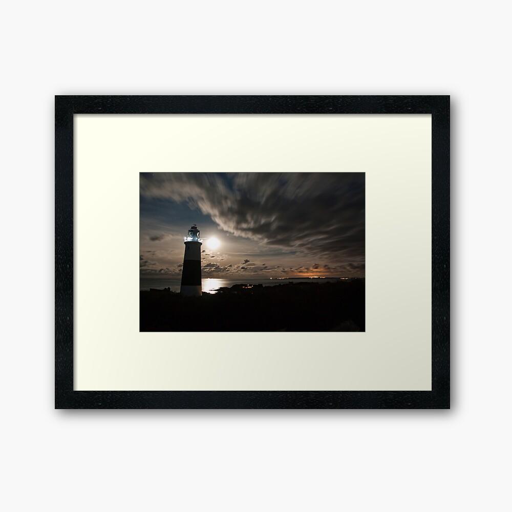 Alderney's Lighthouse Under A full Moon Framed Art Print