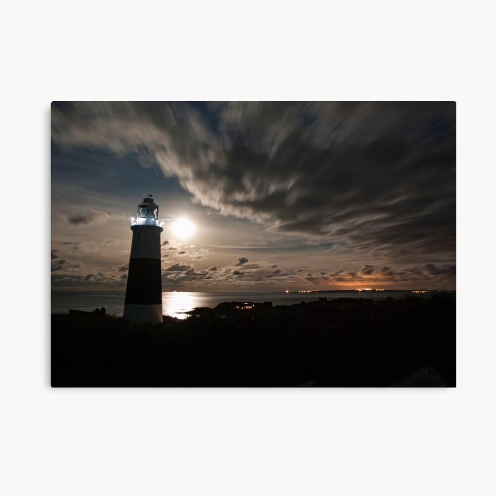 Alderney's Lighthouse Under A full Moon Canvas Print