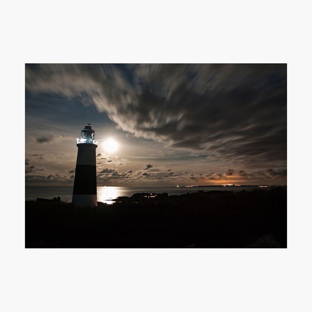 Alderney's Lighthouse Under A full Moon Photographic Print