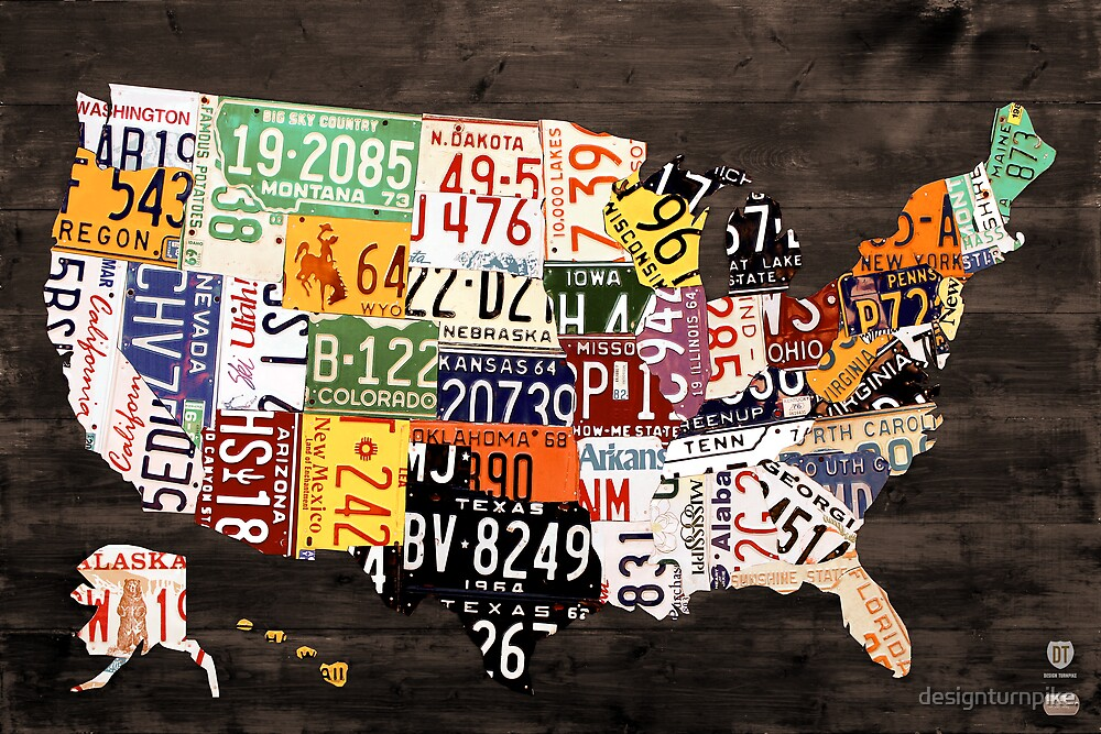 Amazoncom Poster Service License Plate Map Of The US Poster - Us licence plate map