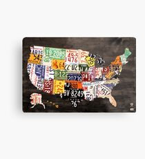 License Plate Map of the United States of America - Warm Colors / Black Edition Metal Print