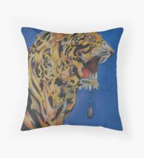 Original painting - Tiger Ready to Pounce Throw Pillow