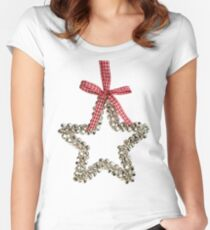 Silver Bells Christmas Star Decoration Women's Fitted Scoop T-Shirt
