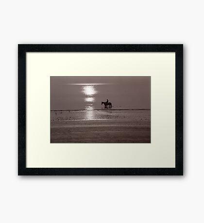 Horse at sunrise Framed Print