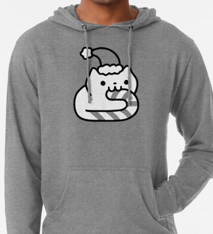 Candy Cane Cat Lightweight Hoodie