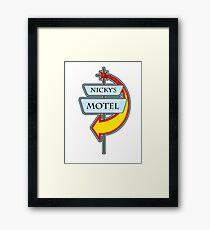 Nicky's Motel campy truck stop tee  Framed Print