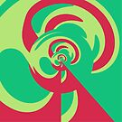 Nouveau Retro Graphic Green and Red by Anthony Ross