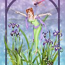 Dragonfly Dancing Fairy Iris Pond by Alison Spokes