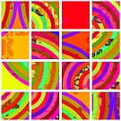 Nouveau Retro Graphic Multi Color Orange Yellow by Anthony Ross