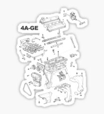 4A-GE Engine Diagram (Bright Colors) Sticker