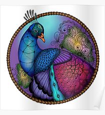Zentangle Peacock Poster