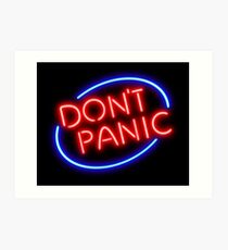 """Hitchhiker's Guide - """"Don't Panic"""" Neon Sign Art Print"""