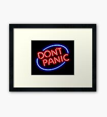 """Hitchhiker's Guide - """"Don't Panic"""" Neon Sign Framed Print"""
