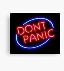 """Hitchhiker's Guide - """"Don't Panic"""" Neon Sign Canvas Print"""