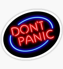 "Hitchhiker's Guide - ""Don't Panic"" Neon Sign Sticker"