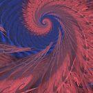Pink Feathery Whirlpool on Purple by pjwuebker