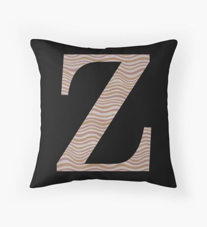 Letter Z Metallic Look Stripes Silver Gold Copper Throw Pillow