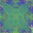 Green Starfish on Purple Abstract by pjwuebker