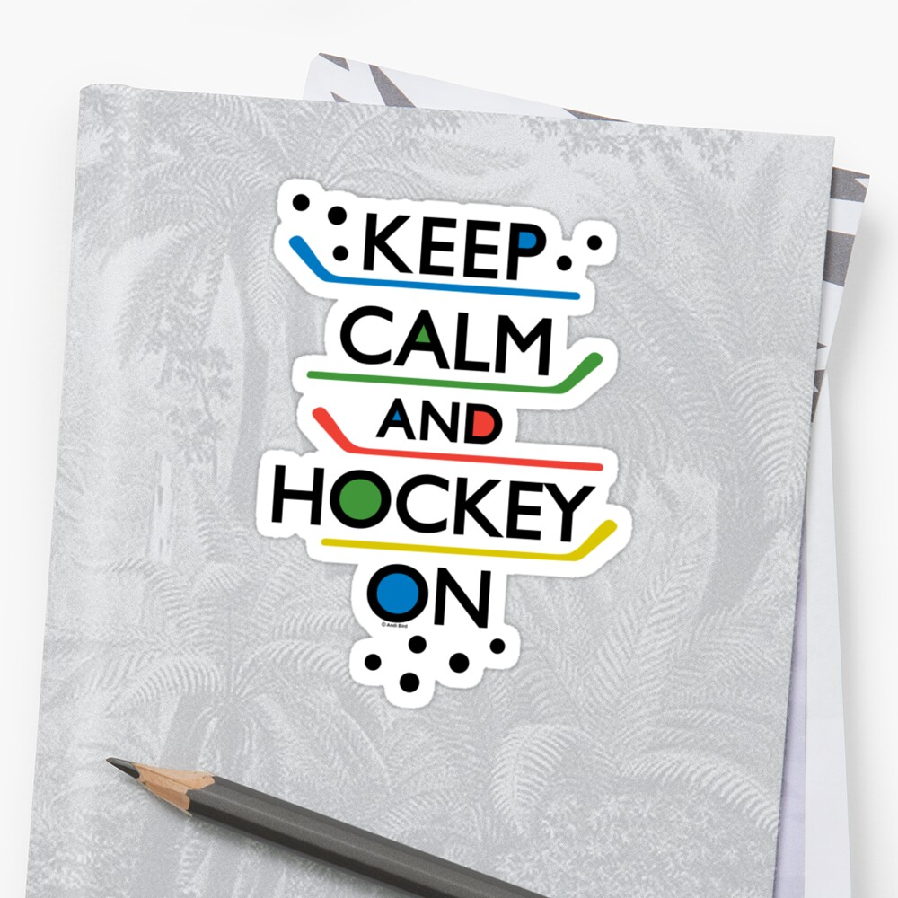 Keep Calm and Hockey On - white by Andi Bird