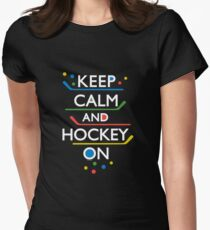 Keep Calm and Hockey On - dark Women's Fitted T-Shirt