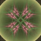 Cool Pink Crystals in Green Orb by pjwuebker