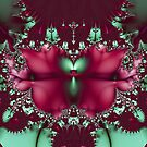Burgundy Tulips With Aqua Abstract by pjwuebker