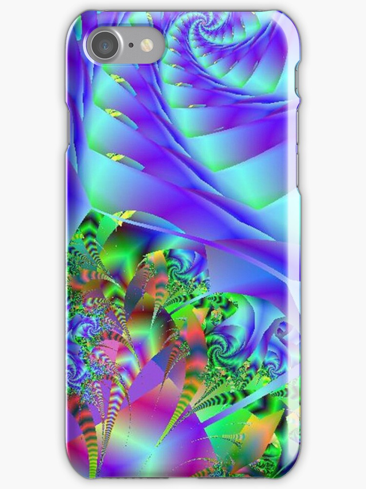Blue Swirls With Colorful Floral Abstract by pjwuebker