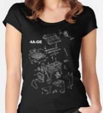 4A-GE Engine Diagram (Dark Colors) Women's Fitted Scoop T-Shirt