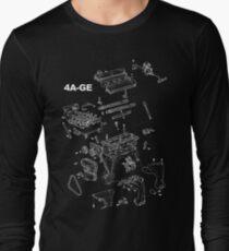 4A-GE Engine Diagram (Dark Colors) Long Sleeve T-Shirt