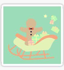 Gingerbread man in Sleigh #4 Sticker