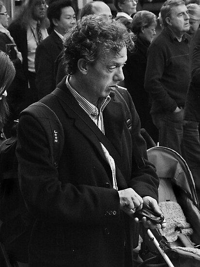 Man in Crowd by Andrew  Makowiecki