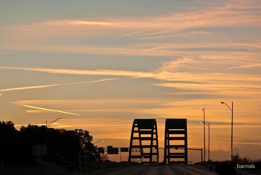 Sunrise on the Jefferson Barracks Bridge by barnsis