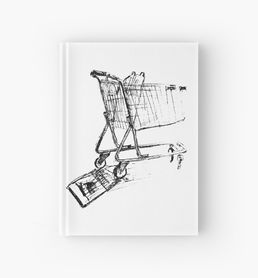 Line Art Journal : Quot shopping cart line drawing hardcover journals by