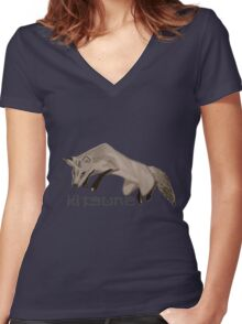 Red Fox Ink & Brush Women's Fitted V-Neck T-Shirt