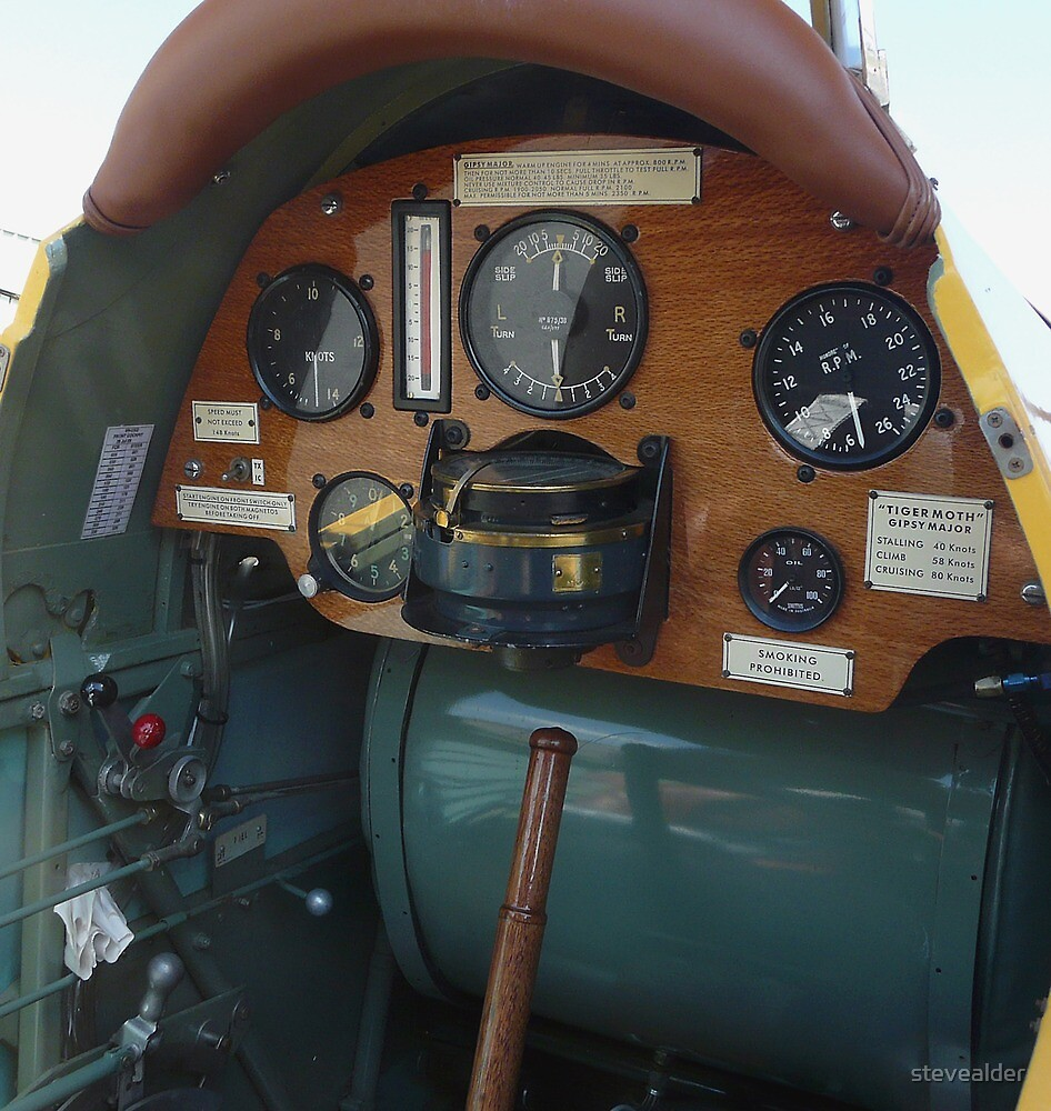 Forward Cockpit - Vintage De Havilland Tiger Moth DH-82A by stevealder