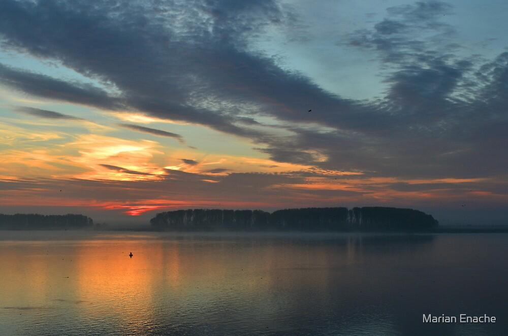 sunrise on danube by Marian Enache