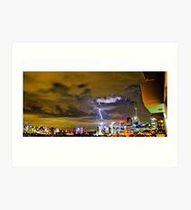 Lightning storm at night over Sydney city, Australia Art Print