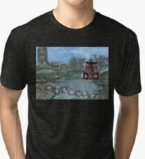 red pagoda in the pond Tri-blend T-Shirt