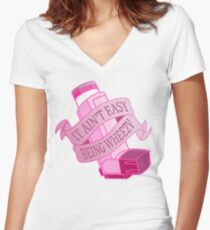 It ain't easy being wheezy- Pink Women's Fitted V-Neck T-Shirt