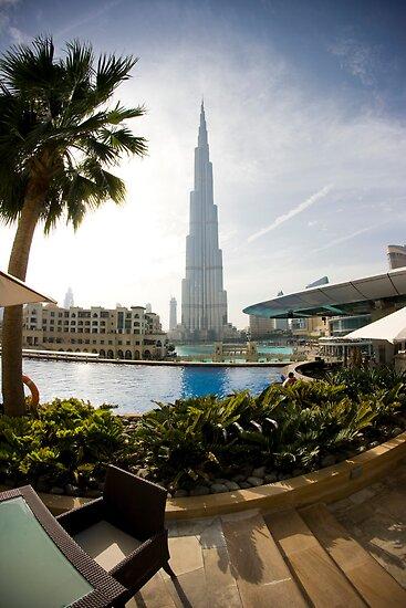Poolside view of the Burj Khalifa by Toren Lehrmann