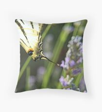 Papillon on lavanda flower Throw Pillow