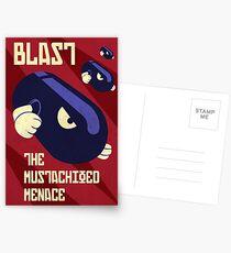 Blast the Mustachioed Menace Postcards