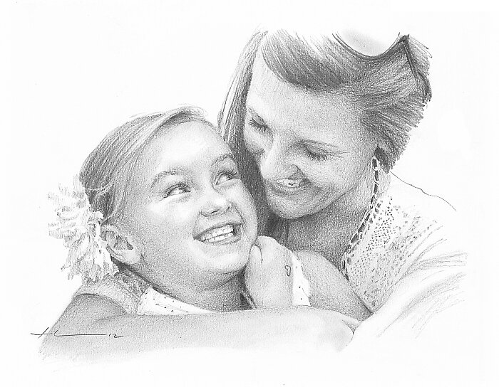 Mom and daughter drawing by Mike Theuer