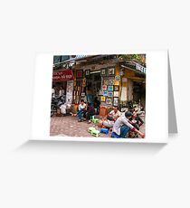 Hanoi morning street scene Greeting Card